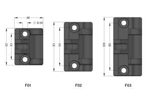ANGUTEC heavy duty hinges - frame mounts