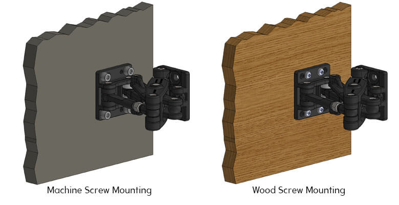 Door Mount D04 using Machine Screws (Left) and Wood Screws (Right)
