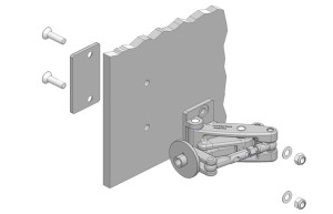 Non glass mounting for heavy duty hinges with a backing plate