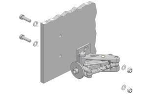 Bolted frame mount for heavy duty hinges onto a non-glass panel