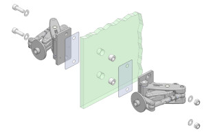 Back to back installation of Manfred Frank heavy duty hinges onto glass