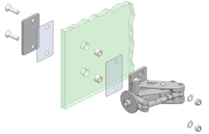 glass mounting of heavy duty hinges with a backing plate
